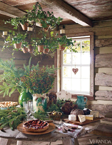 In the Barn's Summer Kitchen, Aerin set up a lovely buffet.  We filled her wonderful antique stoneware with evergreens, hypericum berries and pinecones